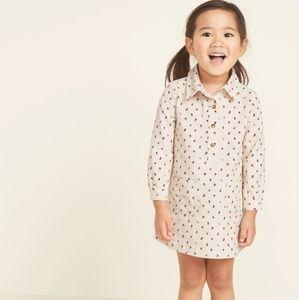 OLD NAVY • girls 3t floral Corduroy shirt dress